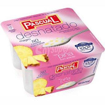 Pascual Yogur desnatado pasteurizado con piña Pack 4x125 g