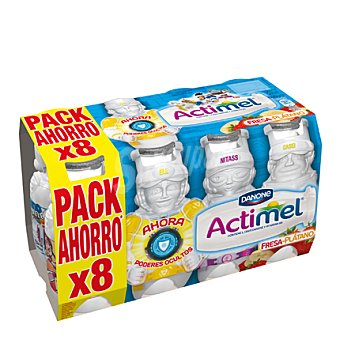 Danone - Actimel Yogur líquido Actikids fresa-platano Danone pack de 8x100 g
