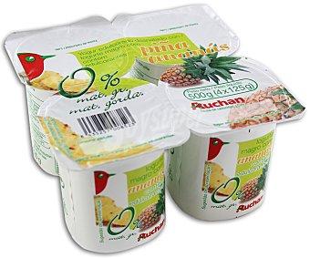 Auchan Yogur natural desnatado (sin materia grasa) Pack de 4 unidades de 125 gramos