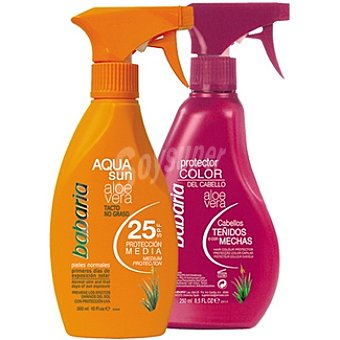 Babaria Aloe vera Aqua Sun FP-25 spray 300 ml + protector color del cabello teñido espray 250 ml Spray 300 ml