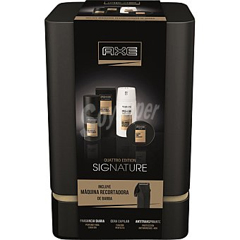 Axe Pack Signature con desodorante spray 150 ml + cera capilar lata 75 ml + fragancia diaria spray 100 ml + recortadora de barba lata 75 ml