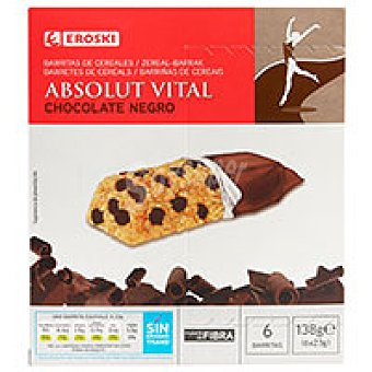 Eroski Barritas de chocolate Absolut Vital 6 u de 23 g