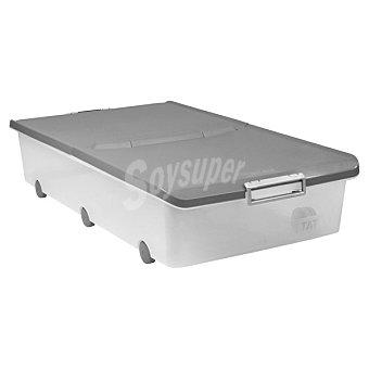 TATAY Caja Multiusos bajo cama con tapa marrón y ruedas 63 l 63 l