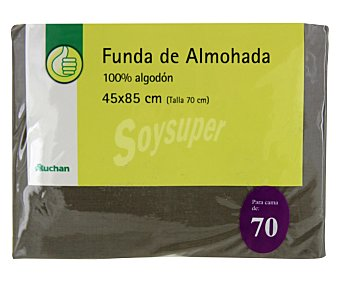 Productos Económicos Alcampo Funda de almohada, color gris piedra, 70 centímetros 1 Unidad