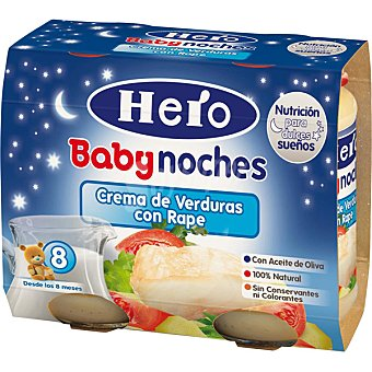 Hero Baby Buenas Noches Tarritos de crema de verduras con rape desde 8 meses envase 380 g 2x190g