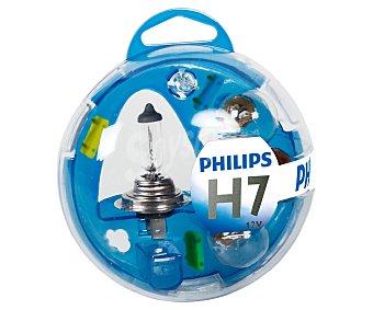 Philips Estuche de bombillas H7-P21W-P21/5W-PY21W-W5W y 3 fusibles 10-15-20A Pack 1 Unidad
