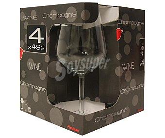 Auchan Pack de 4 copas de vino tinto modelo Allegra, con capacidad de 49 centilitros 4 unidades
