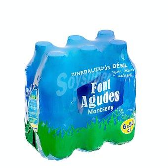 Font agudes Agua mineral natural Pack 6 x 500 ml - 3000 ml