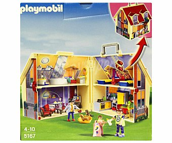 Playmobil Playset Casa de muñecas en maletín, incluye 3 figuras, perros y accesorios, modelo 5167 1 unidad