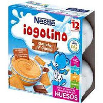 Iogolino Nestlé Postre lácteo de galleta y cacao pack de 4x100 ml