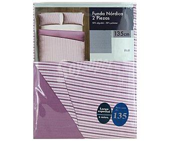 Auchan Funda para relleno nórdico a rayas, color malva, 135 centímetros 1 Unidad