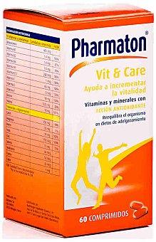 PHARMATON Complemento alimenticio con vitaminas y minerales para disminuir el cansancio y la fatiga, 60 Comprimidos