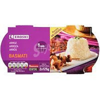 Eroski Vasitos de arroz basmati Pack 2x125 g