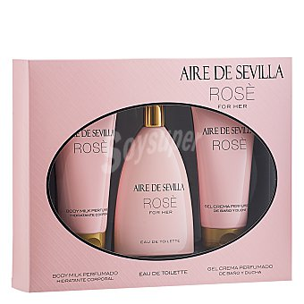 Aire de Sevilla Estuche colonia ROSE 150 ml. + crema corporal + gel exfoliante 1 ud
