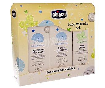 Chicco Set de baño para bebé compuesto por espuma de baño, champú sin lágrimas y crema balsámica baby moments de chicco 3u