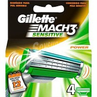 GILLETTE Mach 3 Sens. Cargador de afeitar Pack 4 unid