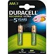 Ultra pila recargable AAA 850 mAh blister 2 unidades Blister 2 unidades Duracell