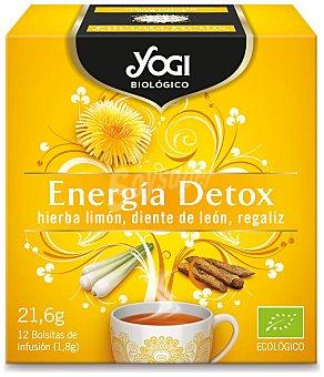 Yogi Tea Infusión ecológica energía detox (hierba limón, diente de león y regaliz) 12 bolsitas. 21,6 g