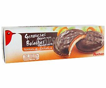 Auchan Galletas de bizcocho rellenas de naranja y recubiertas de una capa de chocolate negro 150 gramos