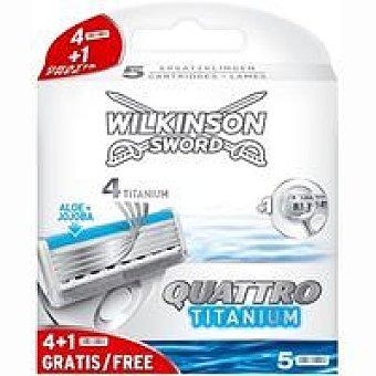WILKINSON Titanium Cargador de afeitar Quatro Pack 5 unid