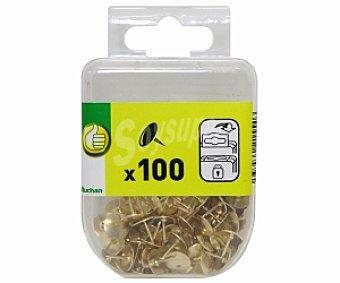Productos Económicos Alcampo Caja de 100 chinchetas niqueladas de color dorado 1 unidad