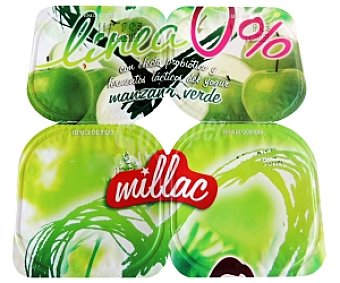 Millac Yogur Desnatado Manzana Verde 4 Unidades de 125 Gramos