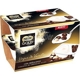 Gold Nestlé Yogur sabor vainilla con avellanas cubiertas de chocolate negro Pack 2 unidades 115 g