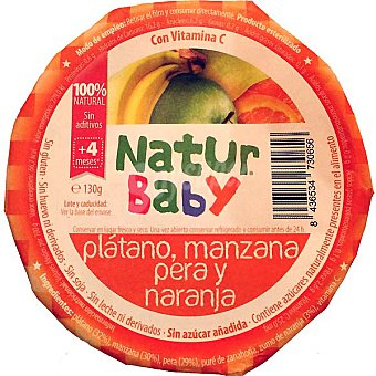 NATURBABY Compota de plátano manzana pera y naranja 100% natural sin azúcar añadida Tarrina 130 g
