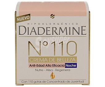 Diadermine Nº 110 crema de belleza anti-edad alta eficacia noche nutre alisa y regenera tarro 50 ml con 110 gotas concentrado de juventud Tarro 50 ml