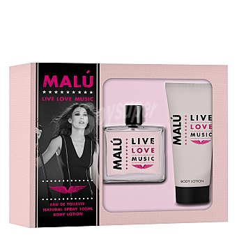 Malu Estuche colonia Live Love Music spray 100 ml. + loción corporal 75 ml. 1 ud