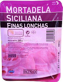Hacendado Mortadela siciliana lonchas finas Paquete 200 g