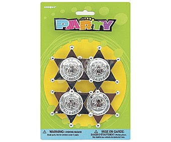 Party Relleno para piñanatas, insignias Scheriff 4 unidades