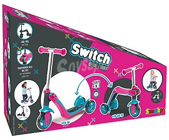 SMOBY Switch Correpasillos convertible en patinete, color rosa, Switch, SMOBY.