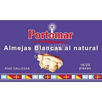 Portomar Almejas blancas al natural de las rías gallegas lata 63 g 16-20 piezas Lata 63 g