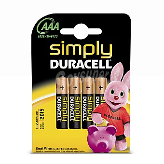 AAA LR03 DURACELL Pila alcalina simply Pack 4 unid