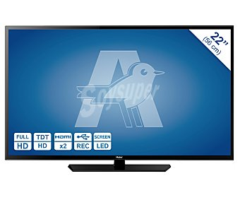 """HAIER LE22M600CF Televisión 22"""" LED Full HD, TDT HD, USB reproductor y grabador, hdm, 200HZI. Televisor de pequeño formato."""