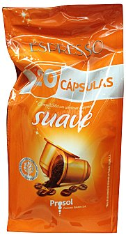 PROSOL Café cápsula (compatible con cafetera sistema nespresso) suave Paquete de 20 u - 90 g