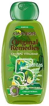 ORIGINAL REMEDIES Champú vitalidad 5 plantas -Té verde, Limón, Eucalipto, Ortiga y Verbena- 250 ml