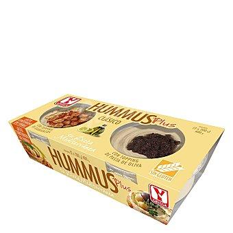 Ygriega Hummus Plus clásico con pasta de oliva sin gluten Pack 2x200 g