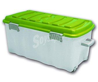MONDEX Caja multiusos con ruedas, 70 litros, modelo Voyager, color blanco translúcido y tapa amarilla 1 Unidad