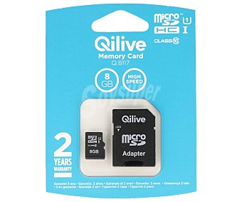Qilive Tarjeta de memoria Microsdhc 8GB clase 10 1 unidad