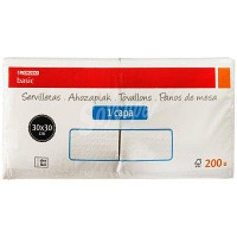 Eroski Basic Servilletas blancas 1 capa 30x30 Paquete 200 unid