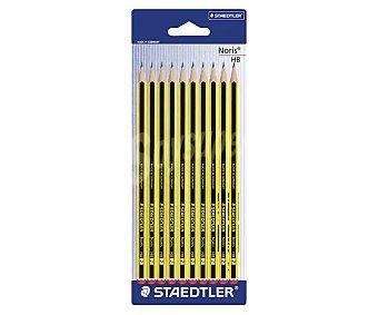 Noris staedtler 10 lápices de grafito, cuerpo color amarillo y negro del número 2 y con dureza HB Noris