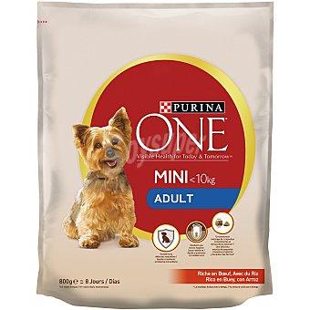 Purina One Pienso para perros adultos minis buey y arroz Bolsa 800 g