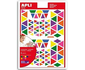 APLI Hoja de gomets adhesivos y removibles multicolor, basados en formas triangulares 1 unidad