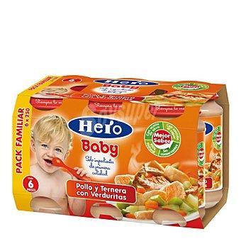 Hero Baby Tarritos de pollo,ternera y verdura Pack 6x250 g