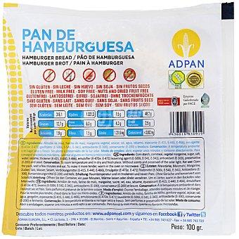 Adpan pan de hamburguesa sin gluten Envase 100 g