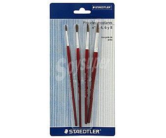 Staedtler Lote de 4 pinceles para acuarela ,con pelo de Pony y de los números 2, 4, 6 y 8 1 unidad