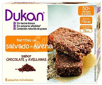 DUKAN Barritas de salvado de avena con sabor a chocolate y avellanas 150 gramos