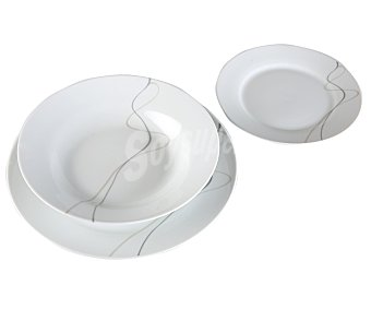 Luminarc Vajilla de 18 piezas modelo Loop Gris, fabricada en vidrio templado y con diseño redondeado y elegante con bandas circulares grises y transparentes 18 piezas